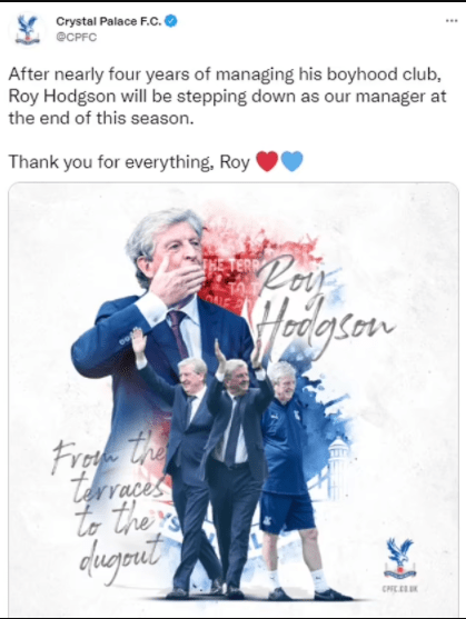 Roy Hodgson step-downs as Crystal Palace manager at the age of 73 to spend more time with his wife and family
