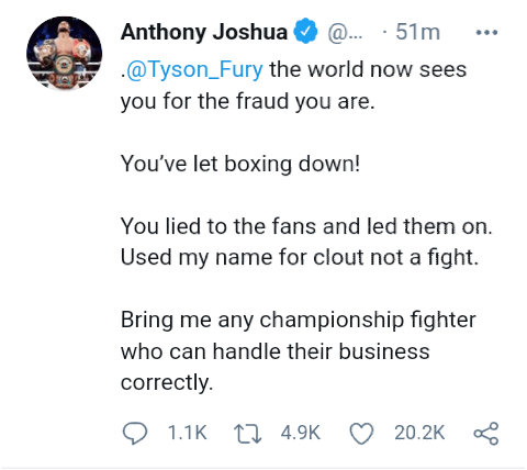 """""""The world now sees you for the fraud you are, waste man"""" - Tyson Fury and Anthony Joshua call each other names as their undisputed clash crumbles"""