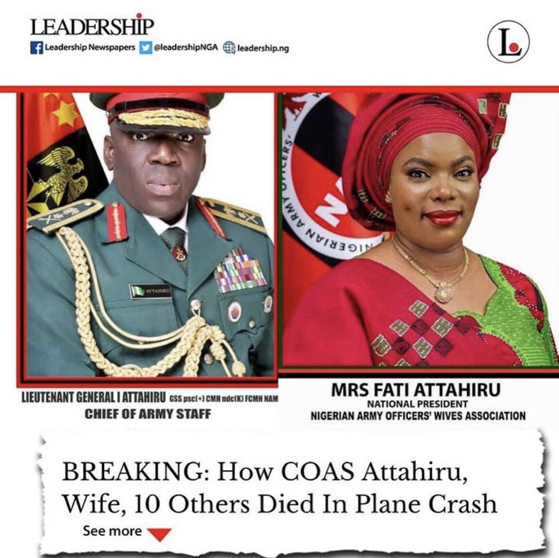 Sad! Wife of Chief of Army Staff, Mrs Fati Attahiru, also perished in the ill-fated military aircraft