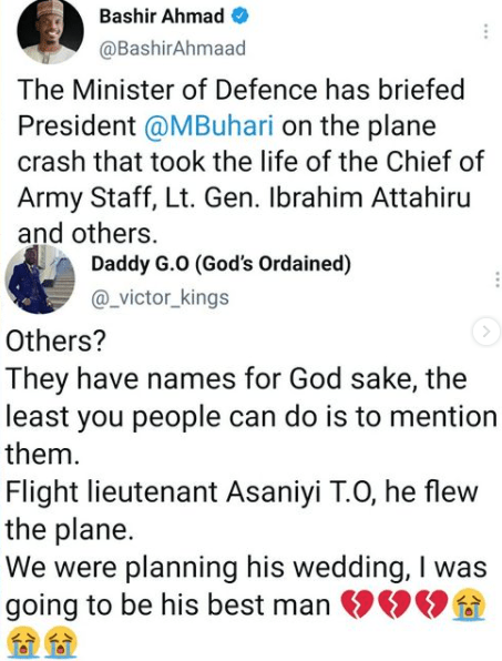 NAF pilot who died in the Kaduna crash was planning his wedding