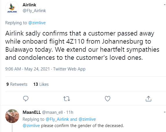 Passenger collapses and dies on flight from Johannesburg to Bulawayo in Zimbabwe