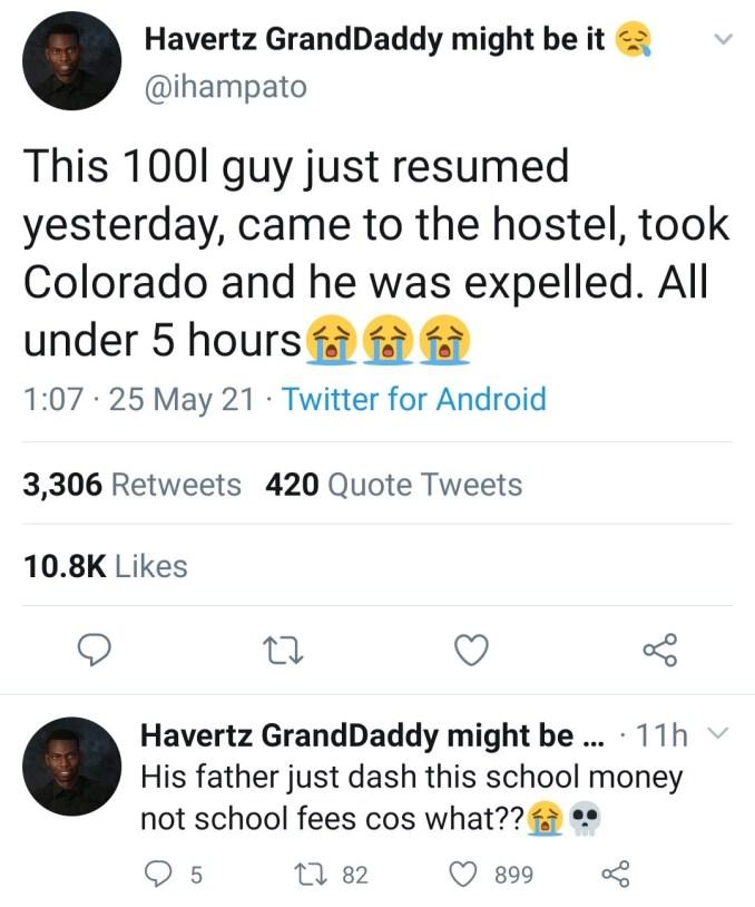 100 level student caught taking