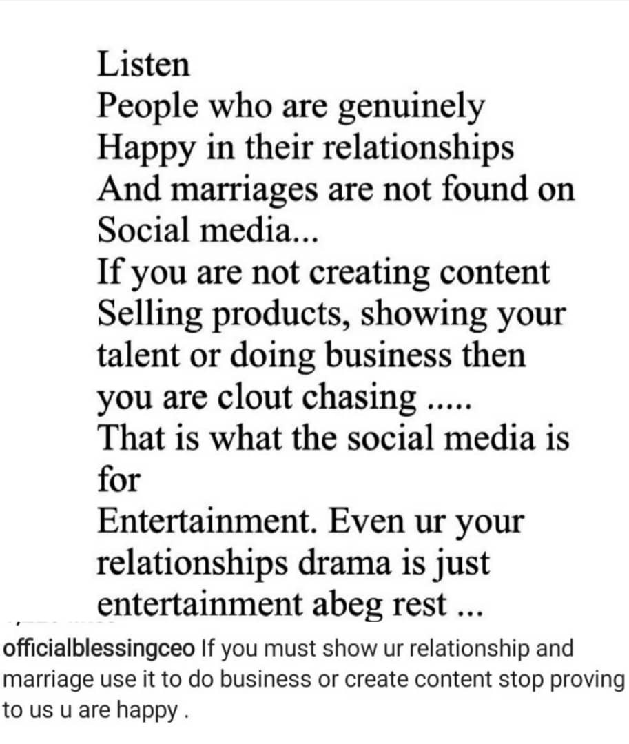 People who are genuinely happy in their relationships or marriages are not on social media - Relationship expert Blessing Okoro