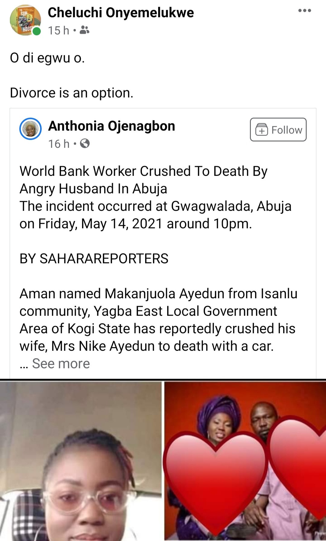 Friends mourn World Bank staff allegedly crushed to death with a car by her husband