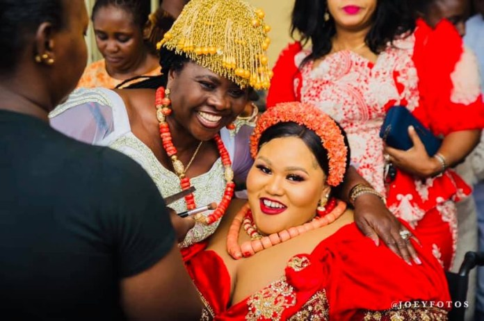 Photos from the traditional wedding of the pretty differently-enabled Nigerian woman, Dorathy Osaronu