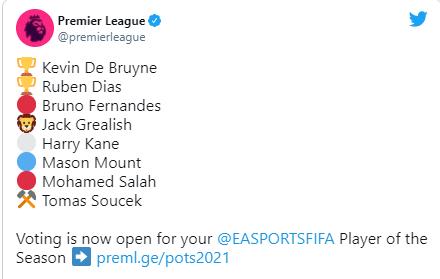 Fernandes, Salah, Kane, Ruben Dias shortlisted for Premier League Player of the Year Award?