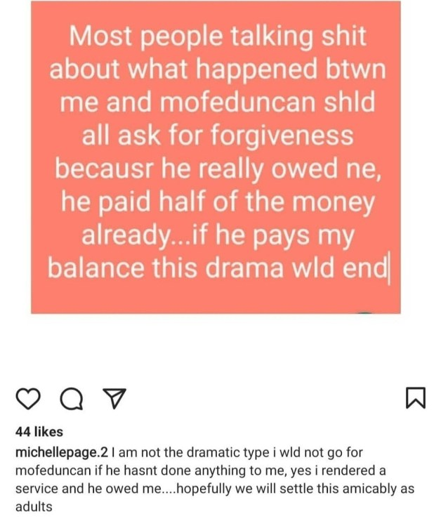 Mofe Duncan reacts as Michelle Page finally reveals the debt he
