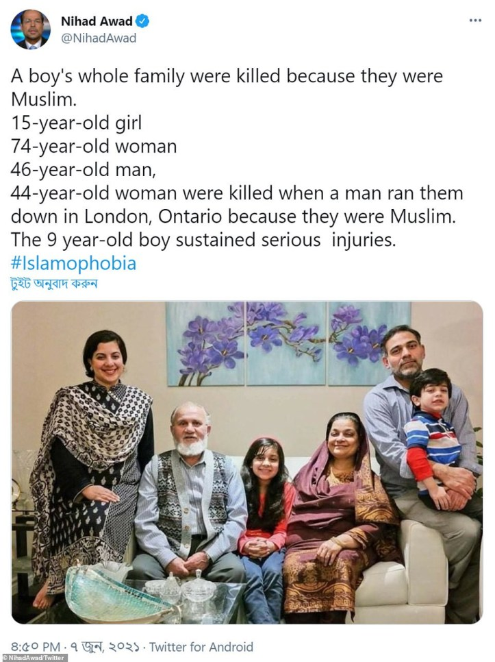 Grandmother, father, mother & daughter are killed with 9 year old boy left fighting for his life after man hits them with his truck because they were muslims