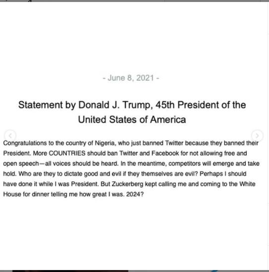 Trump félicite le Nigeria d'avoir suspendu Twitter et dit que davantage de pays devraient interdire la plate-forme.