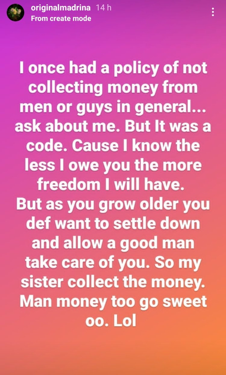 Cynthia Morgan reveals why she changed her policy of not collecting money from men she