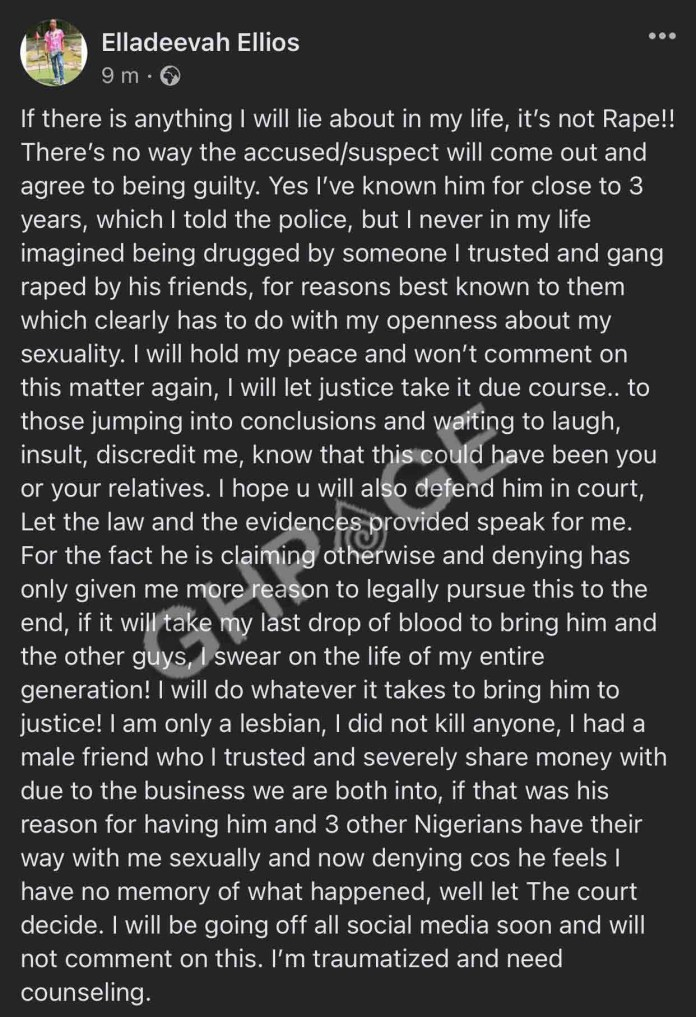 I was raped by 4 men - Ghana-based Nigerian lesbian sheds more light on how she was allegedly raped for two days
