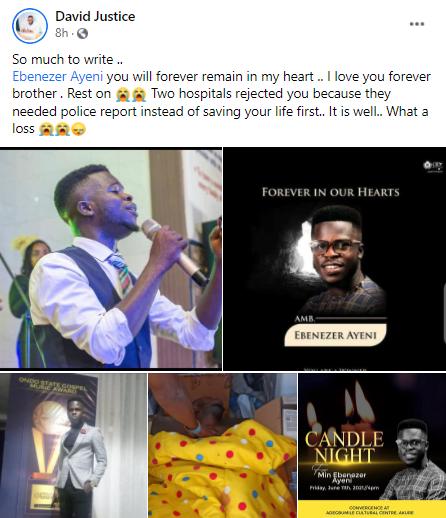 Gospel music producer, Ebenezer Ayeni, dies from gunshot wound one week to his wedding
