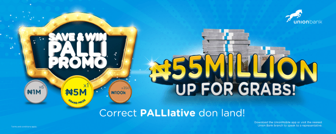 N55m Up for Grabs in Union Bank?s Save & Win Palli Promo Union Bank has announced a nationwide campaign to give away 55 Million Naira to new and existing customers in its ?Save & Win Palli? promo. This is another way the Bank is offering Nigerians some relief (a.k.a. ?palliative?) from the economic hardship brought on by the COVID-19 pandemic and other issues. During the promo period which runs from June to December 2021, new and existing customers who save a minimum amount of N10,000 monthly, will qualify to win whopping cash rewards and prizes. A total of 350 customers will win N100,000 each in the monthly draws, while six customers will be awarded N1,000,000 each during the quarterly draws. The grand finale will take place in December, with one customer winning the grand prize of N5,000,000. An additional 300 customers will win amazing gifts, bringing the total number of winners in the promo to 657. The Bank?s Head of Retail Banking and Digital, Lola Cardoso, while kicking off the campaign, reiterated the Bank?s consistent effort to give back to customers. She said, ?Union Bank is excited to give back to her customers through this Save & Win Palli Promo which is one of the many ways we are supporting Nigerians during these times. This campaign presents a wonderful opportunity to reward our customers in ways that matter and foster the culture of saving. Union Bank remains committed to enabling success for Nigerians.? Union Bank customers can top up their savings with multiples of N10,000 to increase their chances of winning in the draws. The promo winners will emerge through a series of transparent, electronically- generated draws supervised by relevant regulatory institutions. Prospective customers can download the UnionMobile app on their mobile phones to open accounts, or walk into any Union Bank branch To reactivate existing accounts, returning customers can call the 24-hour Contact Centre on 07007007000 or also visit any of Union Bank?s branches across the co
