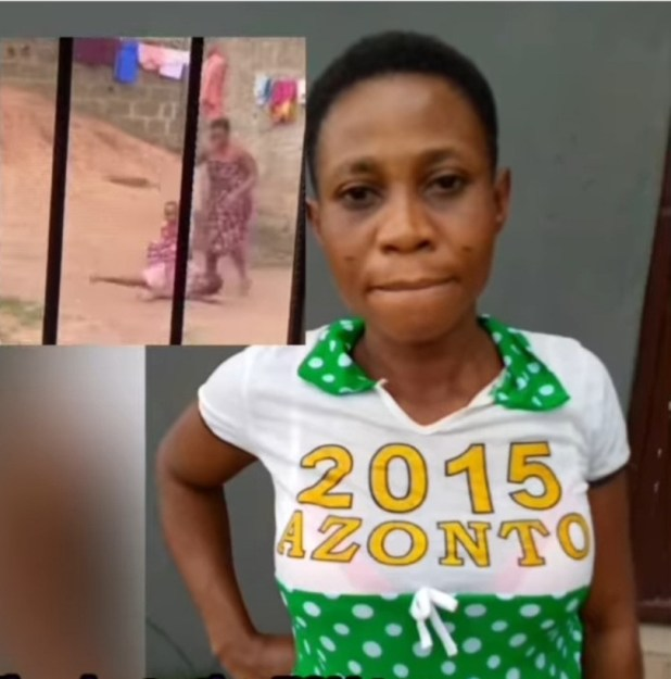 The Nigerian mother filmed abusing her daughter while brushing her teeth has been apprehended