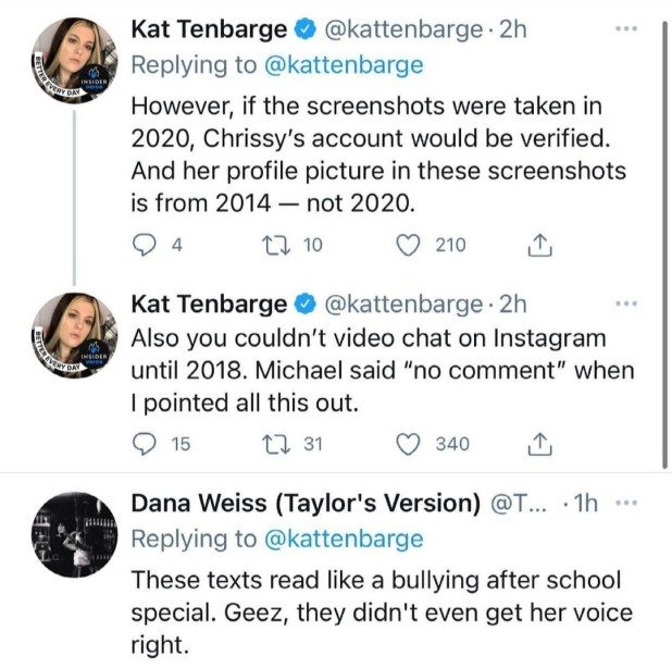 Chrissy Teigen reacts as it emerges that abusive DMs shared by Michael Costello claiming were from her were fabricated