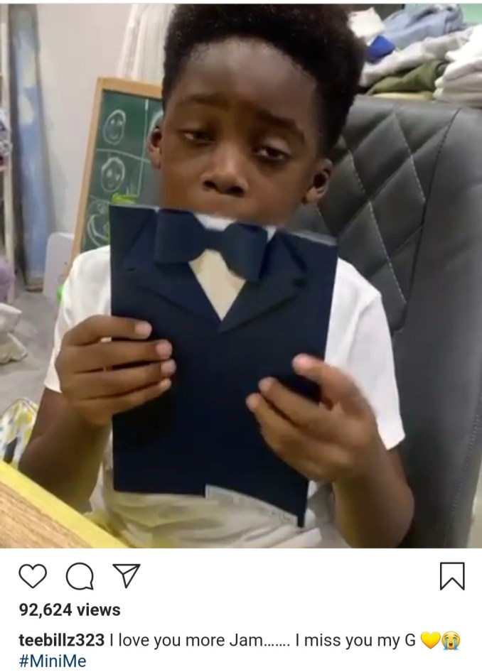 Naira Marley and Teebillz share adorable videos of their children wishing them a happy father's day