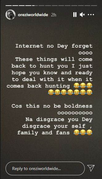 This is not being bold, you are only disgracing yourself, your family and fans because the internet never forgets - Orezi warns BBNaija housemates