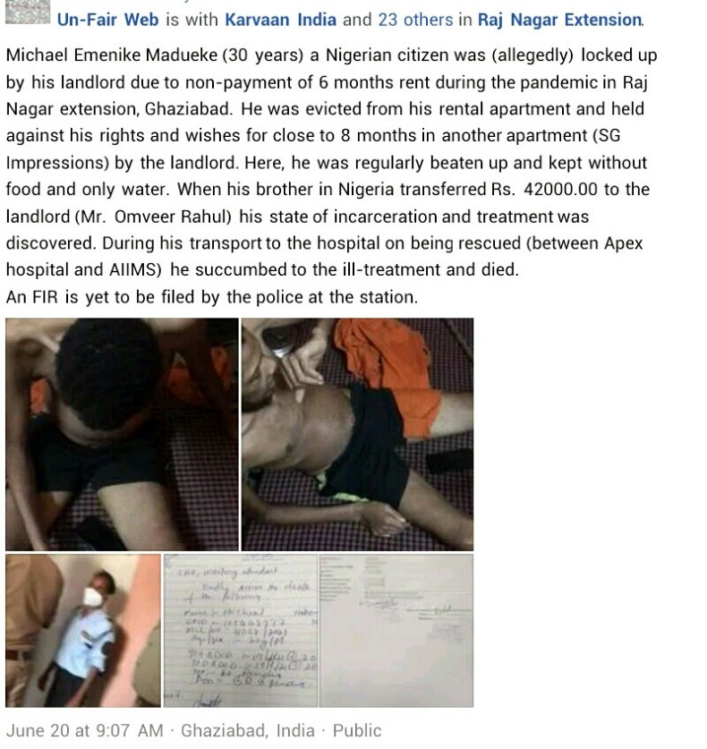 Videos: Nigerian man dies in India after he was allegedly held captive and starved for 8 months by his landlord over non-payment of rent