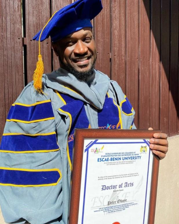 Singer, Peter Okoye, bags honorary doctorate degree from Escae-Benin University, Benin Republic