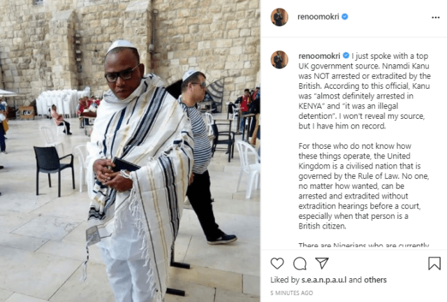 Nnamdi Kanu was not arrested or extradited by the British government- Reno Omokri claims