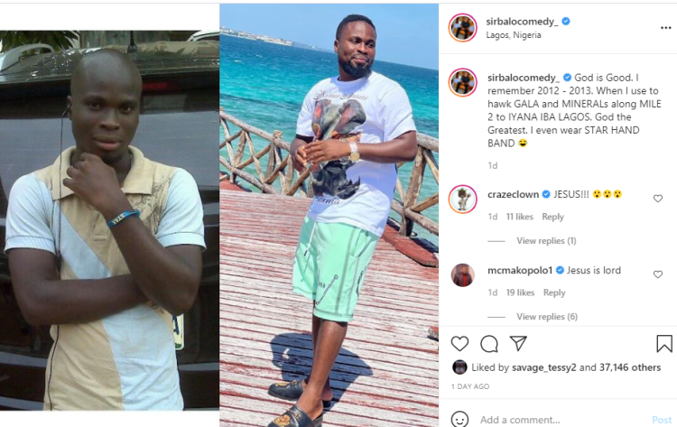 I used to hawk gala and mineral - Instagram comedian Sirbalo Comedy reveals as he shares throwback photo