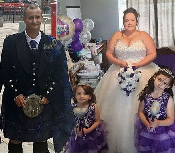Groom with terminal cancer collapses and dies at the altar as his bride walks down the aisle with their son