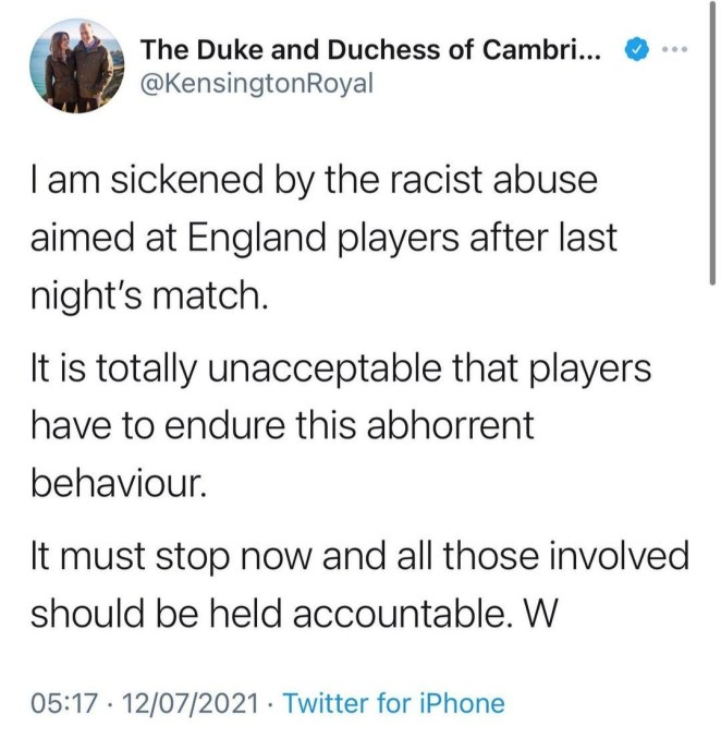 Activist, Dr. Shola Mos-Shogbamimu?tackles Prince William after he condemned racist abuse on England players after Italy loss