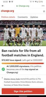 Over 1 million people sign petition to ban racists from football matches for life