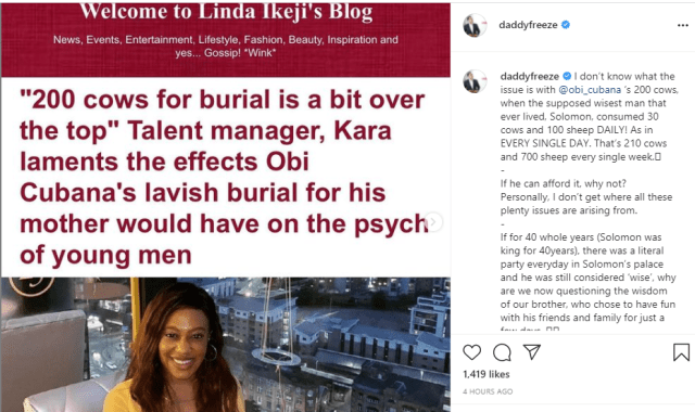 Hustle, so another man?s cows no go turn beef for you - Daddy Freeze knocks talent manager, Lady Kara over comment on Obi Cubana