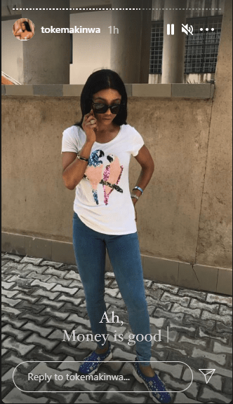 Money is good - Toke Makinwa says as she shares her throw-back photo