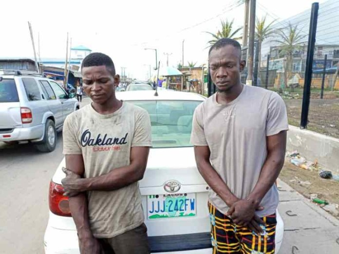 Lagos police arrest 2 ?One Chance? robbery suspects in Lekki, recover stolen car (photos)