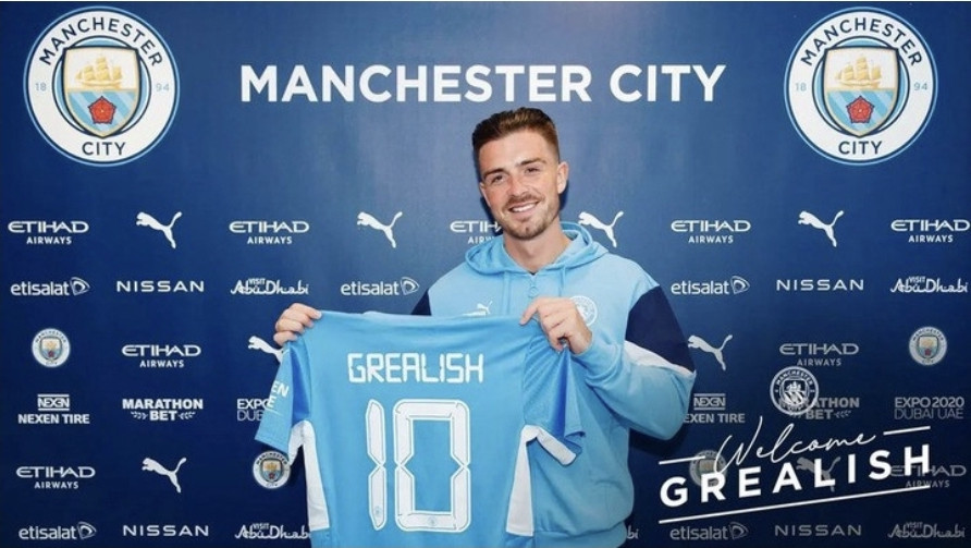 Jack Grealish becomes most expensive player in English football history after joining Manchester City for £100 million