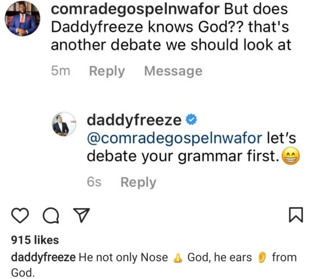 Daddy Freeze slams follower who questioned how well he knows God