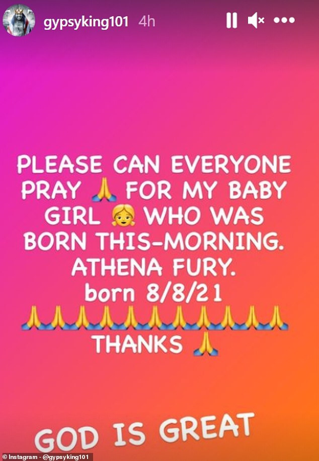 Tyson Fury reveals newborn baby Athena is in intensive care