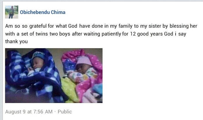 Nigerian man rejoices as his sister gives birth to twins after 12 years of waiting