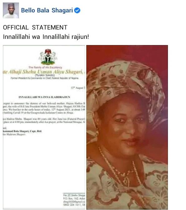 Former President, Shehu Shagari?s wife, Hadiza dies of COVID-19 complications