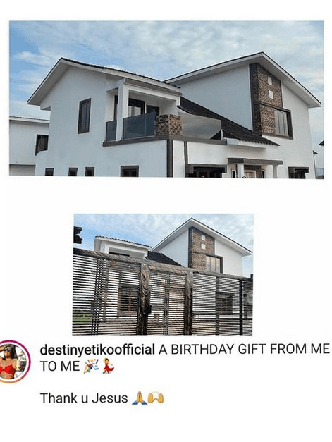 Actress Destiny Etiko gifts herself a house for her birthday (photos)