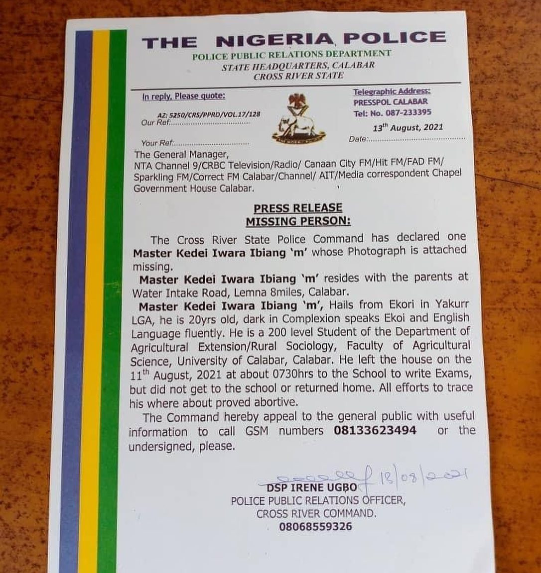 Cross River police declare 200 level UNICAL student missing