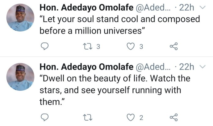 """Federal lawmaker, Adedayo Omolafe dies hours after tweeting """"let your soul stand cool and composed before a million universes"""""""