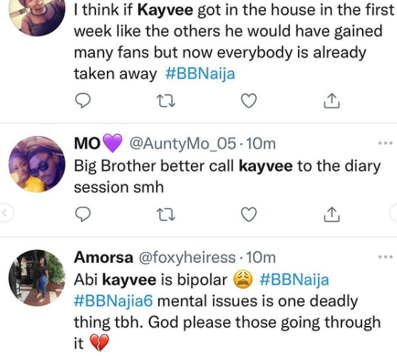 BBNaija: Housemates and Nigerians call on Biggie to take Kayvee for psych evaluation following alleged weird behaviors (video)
