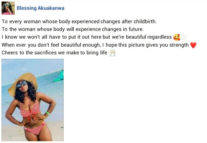 """""""Cheers to the sacrifices we make to bring life""""  - Nigerian mother of two writes as she shares raw photo of her postpartum belly"""