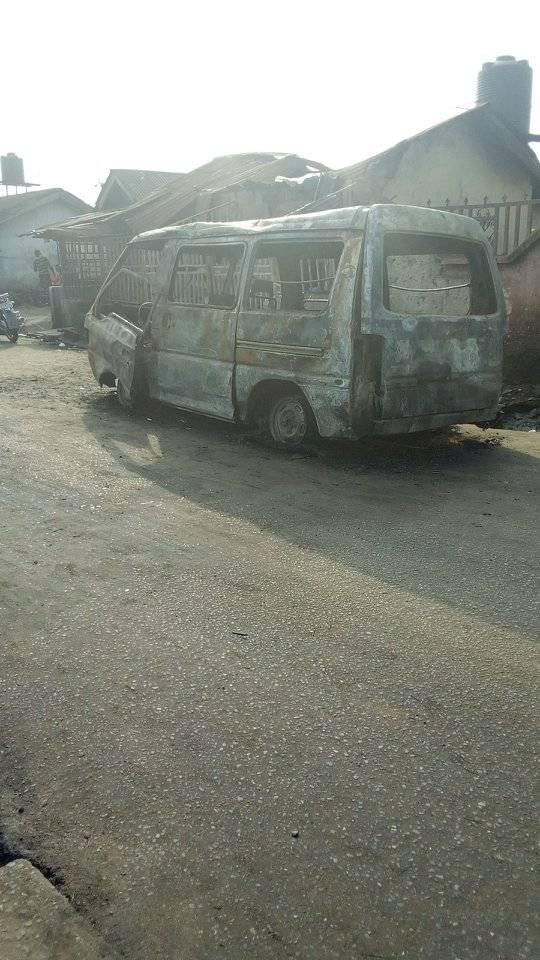 Two dead, policeman in critical condition as vehicle catches fire in Rivers