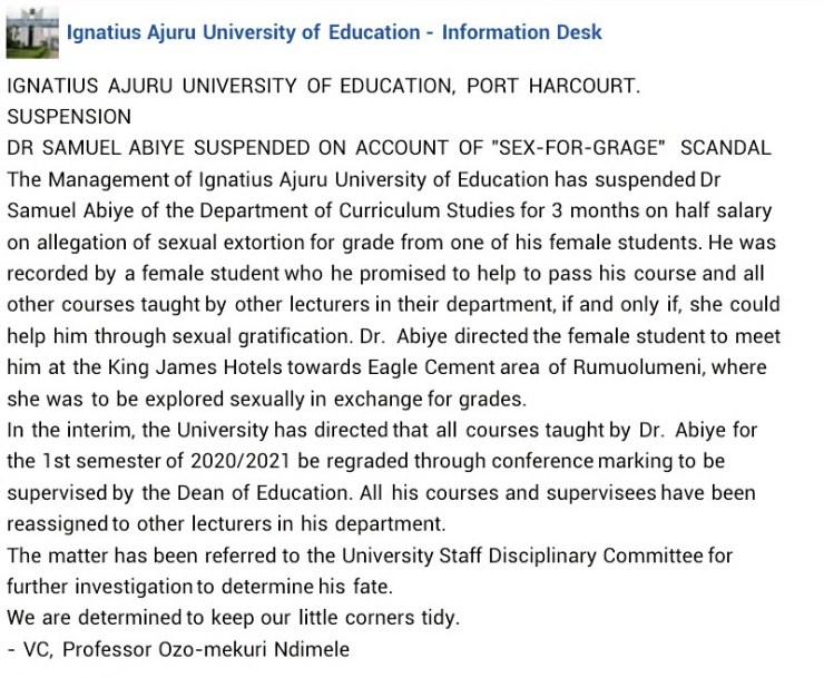 Rivers varsity lecturer suspended over sex-for-grade scandal