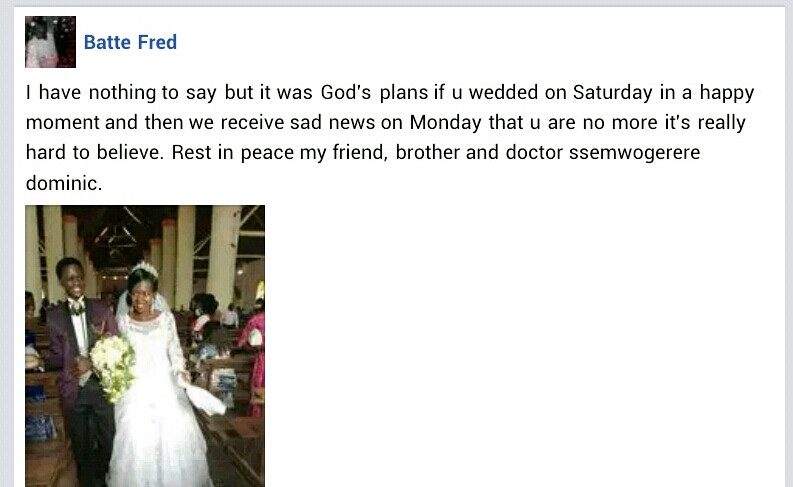 29-year-old Ugandan man dies in road accident two days after his wedding