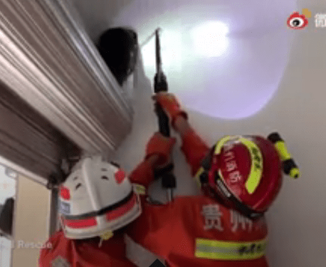 Girl gets head stuck in ceiling after suffering freak accident