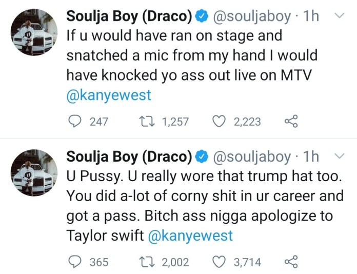 Soula Boy challenges Kanye West to a fight then tells him