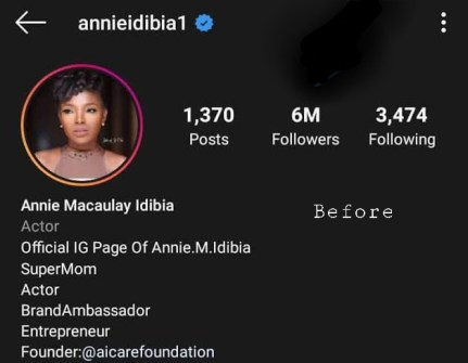 """Annie Idibia removes husband's surname """"Idibia"""" from her Instagram bio"""