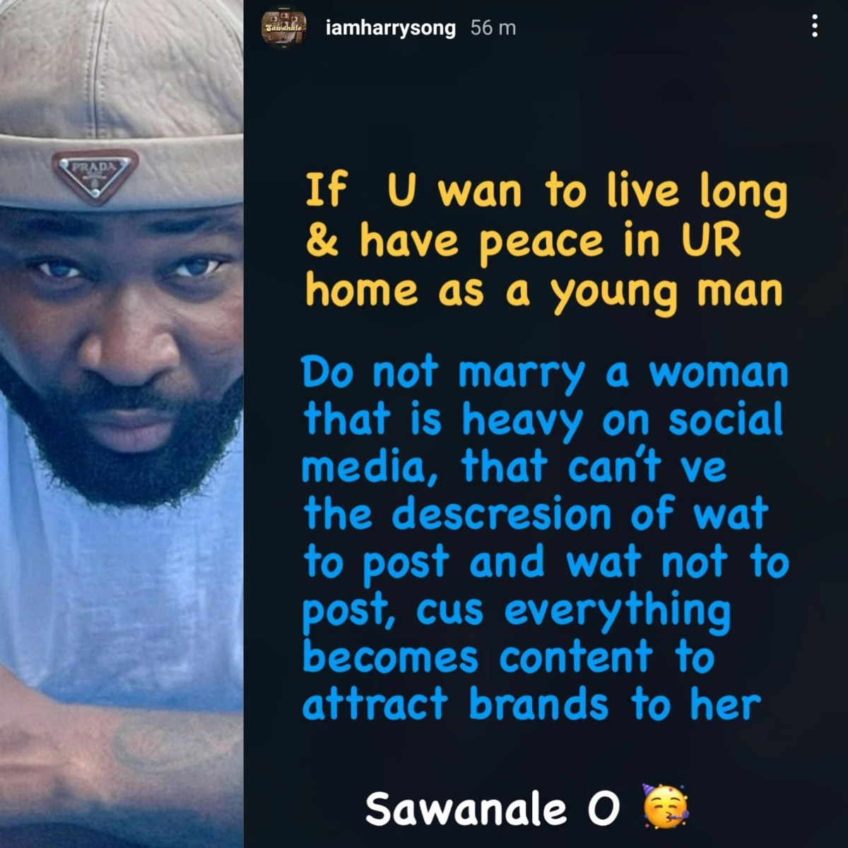 AnnieIdibia/2face: Do not marry a woman that is heavy on social media- Singer HarrySong advises young men