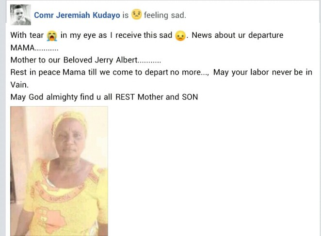 Woman dies a day after the burial of her only child who was brutally murdered in Adamawa