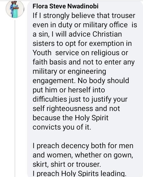 "Mixed reactions as Deeper Life Church member shares photo of Corps member wearing khaki skirt and describing trouser as ""Satan"
